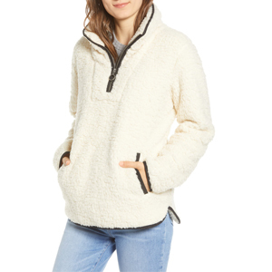 Half-zip teddy coat in cream paired with jeans from Nordstrom photo