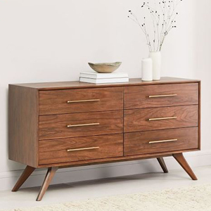 Wright Six Drawer Dresser With Gold Hardware. Photo