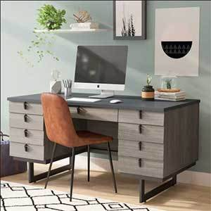 Ash-colored desk is placed with an orange chair in a modern home office. photo