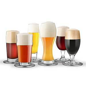 Six different beers poured in their special corresponding glass shape. photo