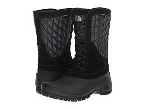 Black rubber and fabric mid-height snow boots. photo