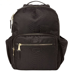 Black python print backpack with RFID blocking technology. photo