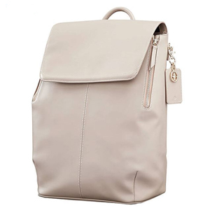Light gray backpack with flap closure. photo