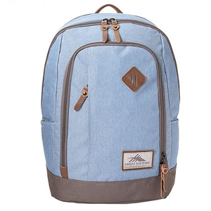 Powder blue backpack with brown detailing. photo