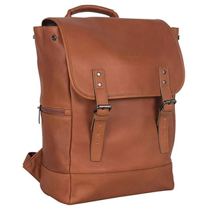 Brown leather laptop bag with buckles on the front. photo