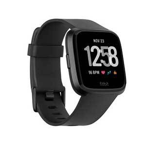 Fitbit Versa smartwatch with black sports band photo