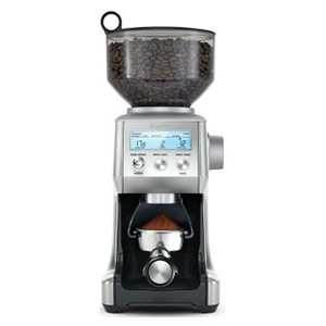 Abt Smart Coffee Grinder in black showing coffee beans in the process photo