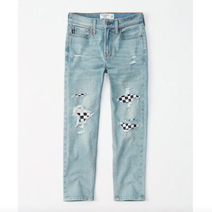 Abercrombie Kids Checkerboard Patched Jeans photo