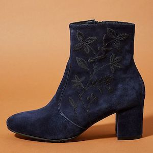 blue embroidered boots by anthropologie photo