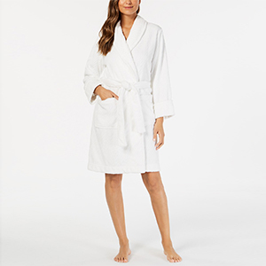 Woman wearing a fluffy white robe from Macy's photo