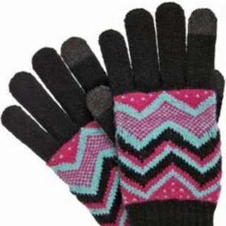 Isotoner Smart Touch Womens Black Knit Zig Zag Texting Gloves Teacher Gift Ideas photo
