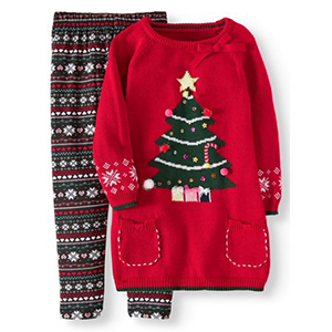 Light-up ugly Christmas sweater for girls in red from Walmart photo
