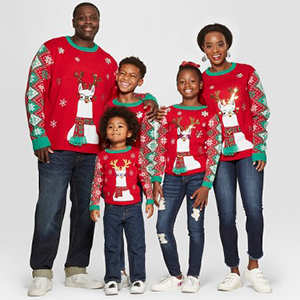 Family Ugly Christmas sweaters in red for kids, toddlers, adults, and pets from Target photo