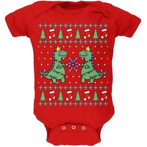Tree Rex T-Rex Ugly Christmas Sweater Onesie for Babies photo