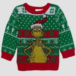 Dr. Seuss Grinch Ugly Christmas Sweater for Babies photo