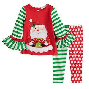 Rare Editions Embroidered Santa Ugly Christmas Sweater Set for Toddlers photo