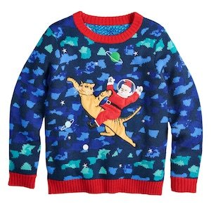 Santa Space Cat Ugly Christmas Sweater for Kids photo
