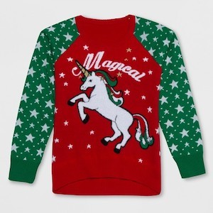 Well Worn Magical Unicorn Ugly Christmas Sweater for Kids photo