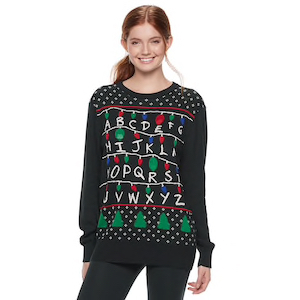 4caee49c88c2e Stranger Things Light-Up Ugly Christmas Sweater for Kids photo