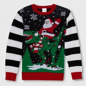 8d09bbc2ee1 Best Ugly Christmas Sweater for Kids into Jurassic Park  Well Worn Santa  Dino Christmas Sweater