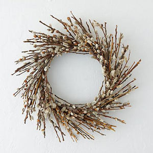 Wreath made from pussy willow twigs. photo