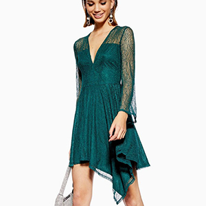 Green long-sleeve lace cocktail dress photo