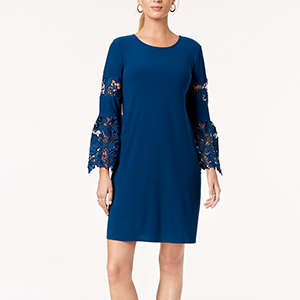 Blue long-sleeve cocktail dress with lace details photo