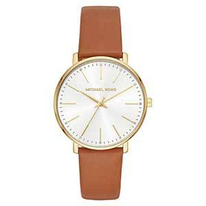 Light brown leather strap Michael Kors watch with gold detailing and a white face photo