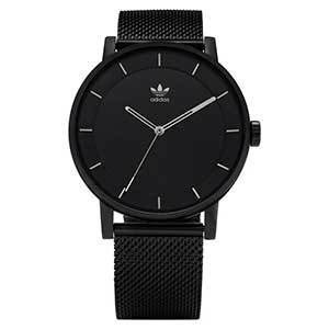 Watch with black textured band and black face with silver detailing photo