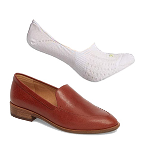 Liner socks in white with brown slip-on shoes. photo