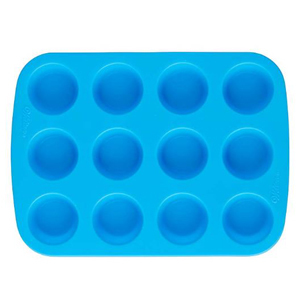 Blue silicone muffin pan with 12 cups and nonstick surface from Amazon photo