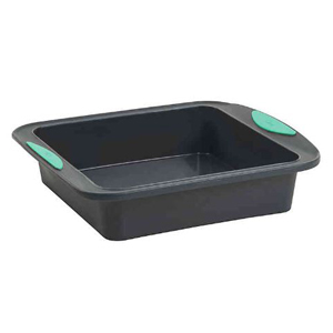 Black silicone cake pan with blue handles from Bed Bath & Beyond photo