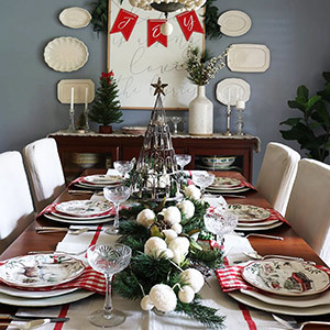 Dining table decorated with holiday accents photo