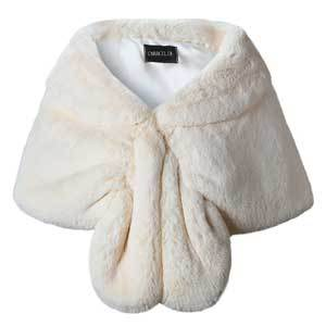 Winter Wedding Coats Caracilia Faux Fur Wrap in Ivory photo