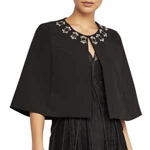 Winter Wedding Coats BCBGMAXAZRIA Embellished Capelet in Black photo
