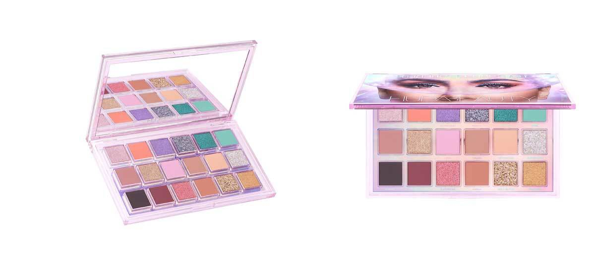Cosmic eyeshadow palette by Huda Beauty with eighteen shades. photo