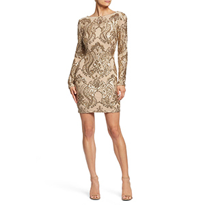 Gold long-sleeve cocktail dress with sequin embellishments photo