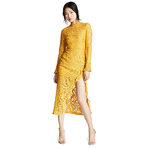 Yellow long-sleeve lace cocktail dress photo