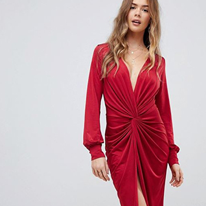 Asos red long-sleeve cocktail dress with twist front photo