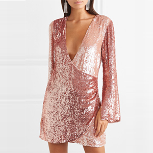 Long-sleeve sequin cocktail dress in light pink photo