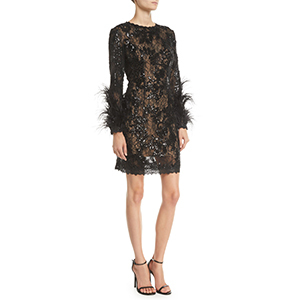 Black long-sleeve cocktail dress with feathers on the sleeve photo