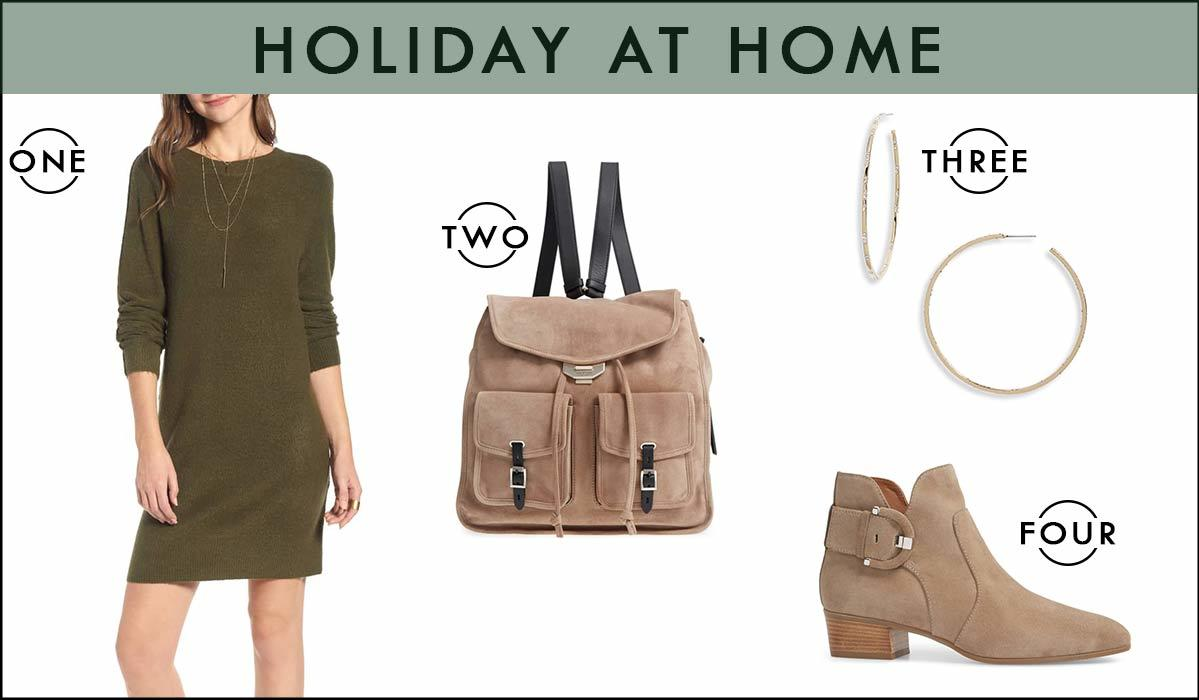 Collage of an outfit featuring an olive green sweater dress, suede booties, tan backpack, and gold hoop earrings photo