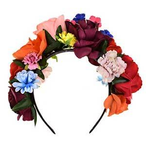 Frida Kahlo Mexican Flower Crown for Brides, Bridesmaids, Flower Girls Day of the Dead photo