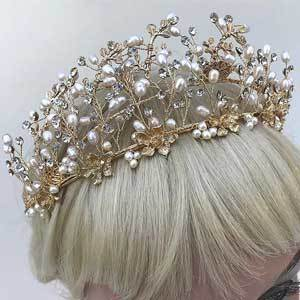 Gold Crystal & Freshwater Pearl Floral Headpiece Flower Crown for Bride, Bridesmaids, Flower Girl photo