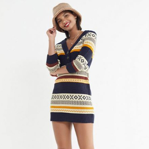 Navy blue, yellow, cream, and red striped sweater dress with a button-up front. photo