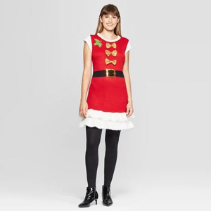 Red and white Santa dress with gold bows on the front. photo