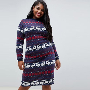 Purple, red, and white sweater dress with reindeer, flowers and striped designs on it. photo