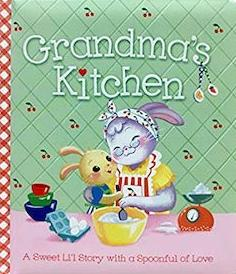 Book with two bunnies on it cooking titled Grandma's Kitchen from Amazon photo