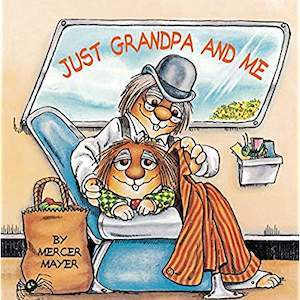 Book with a grandpa critter and child critter titled Just Grandpa and Me from Amazon photo