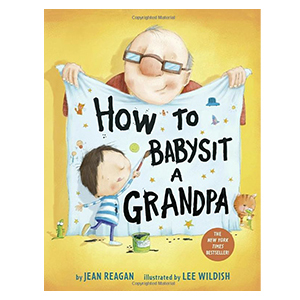 Book with a grandpa and child on it titled How to Babysit a Grandpa from Amazon photo